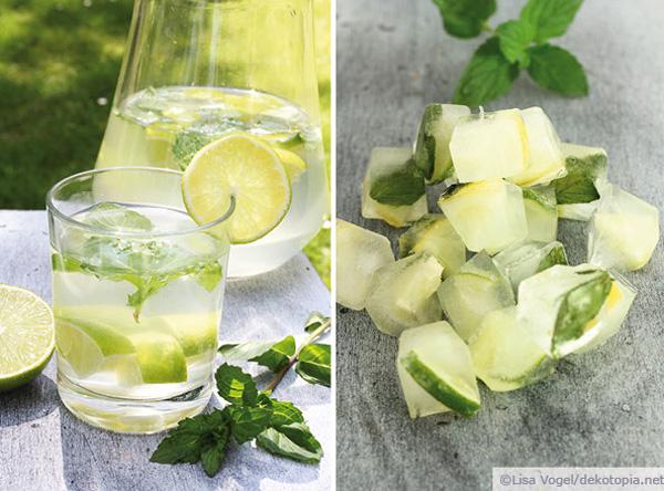 Erfrischender Ananas-Dink uns Eiswürfel mit Minze/Zitrone (mit Rezept)