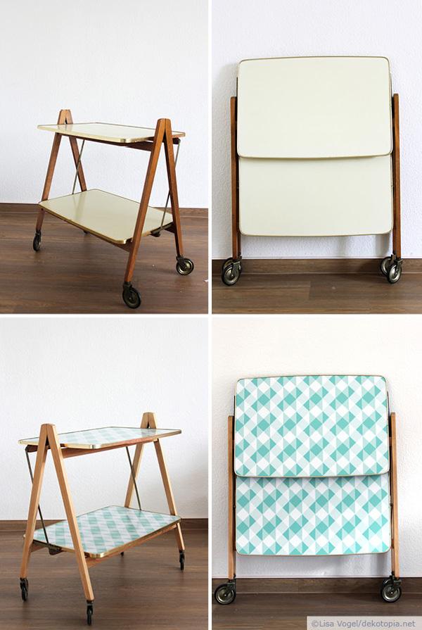mache aus einem servierwagen vom flohmarkt einen hingucker. Black Bedroom Furniture Sets. Home Design Ideas