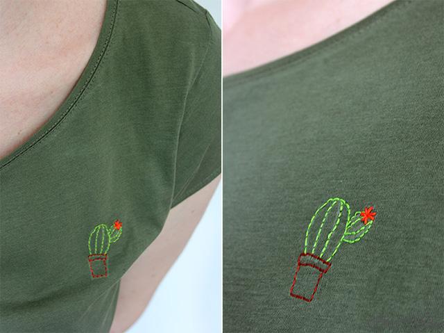 Sommertrend Kaktus: besticke Dein eigenes Shirt mit einem niedlichen Kaktus-Motiv