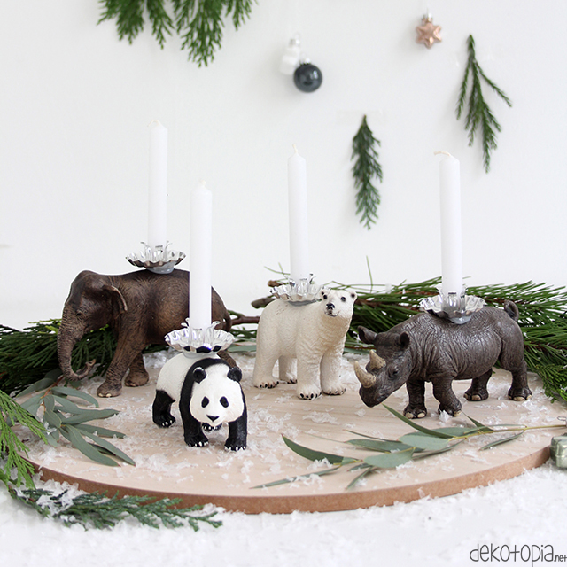 adventskranz mit tierfiguren diy anleitung dekotopia. Black Bedroom Furniture Sets. Home Design Ideas