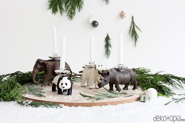 DIY Anleitung: Adventskranz mit Tierfiguren