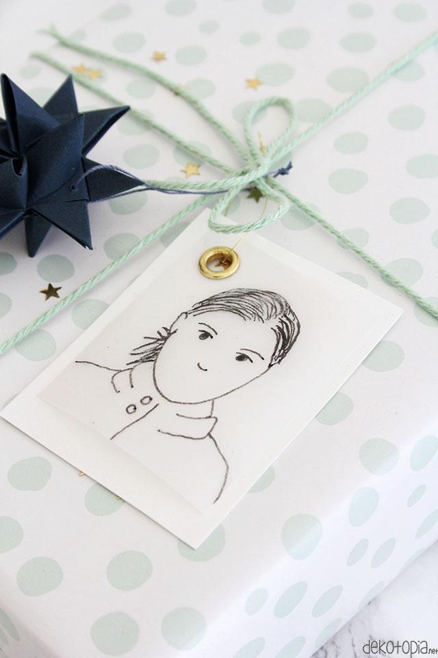 DIYnachten: Geschenkanhänger mit Porträt