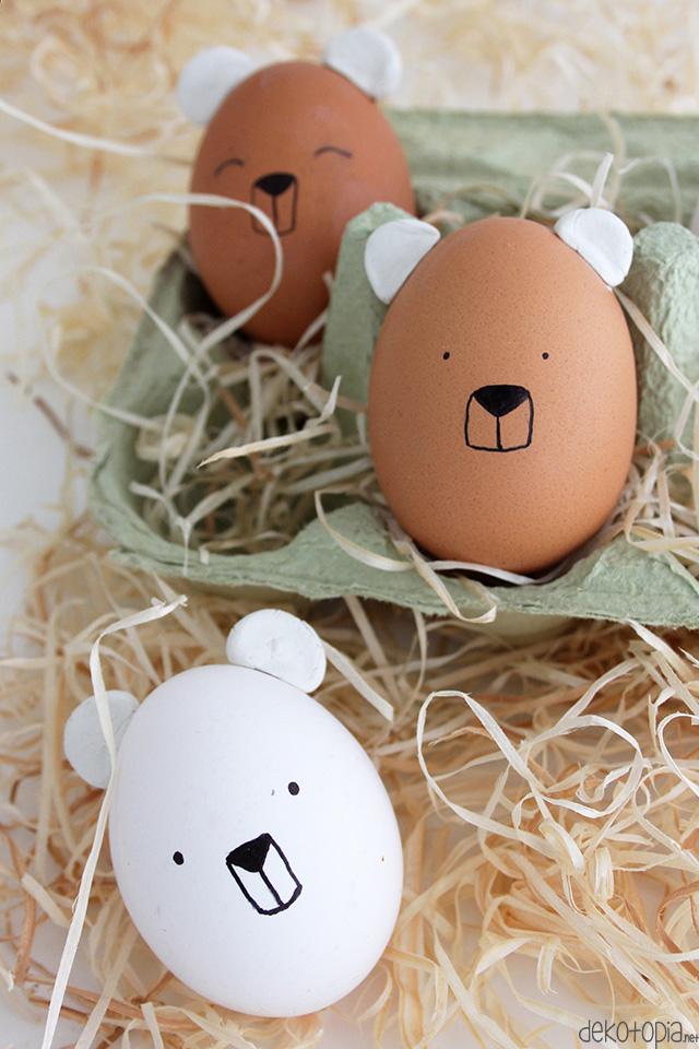 DIY Anleitung: Ostereier mit Bärengesicht und Ohren basteln