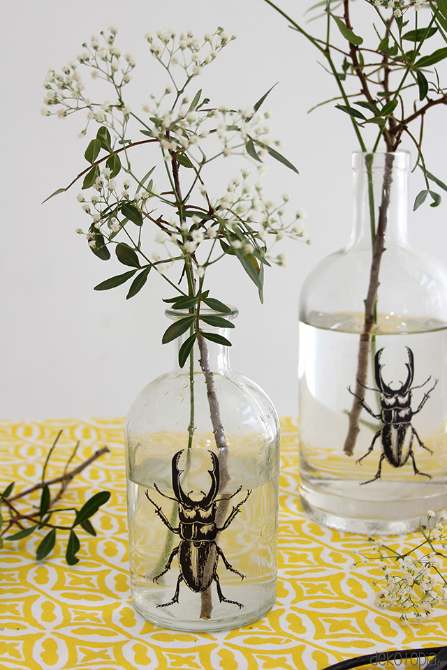 DIY Anleitung: Vasen mit Käfer Motiv