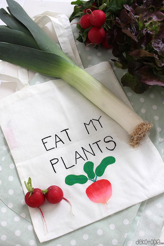 DIY Anleitung: bemale eine Baumwolltasche und vermeide Plastiktüten für Obst und Gemüse