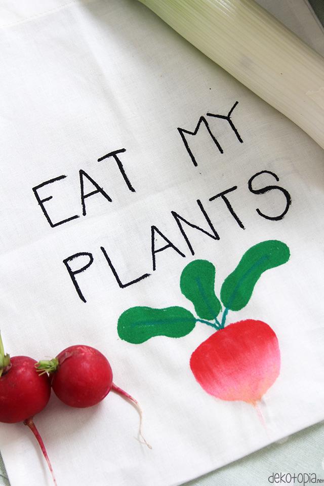 Eat My Plants Baumwolltasche Für Obst Und Gemüse Bemalen Dekotopia