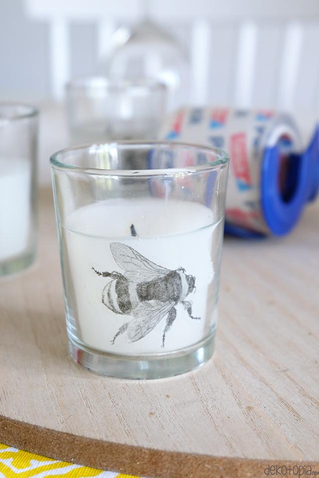 Fototransfer mit Klebeband: Anti-Mücken-Kerzen gestalten