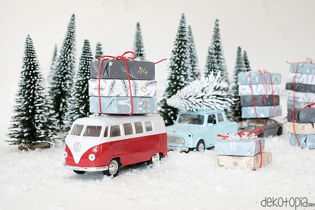 DIY Anleitung: Adventskalender aus Spielzeugautos selber machen
