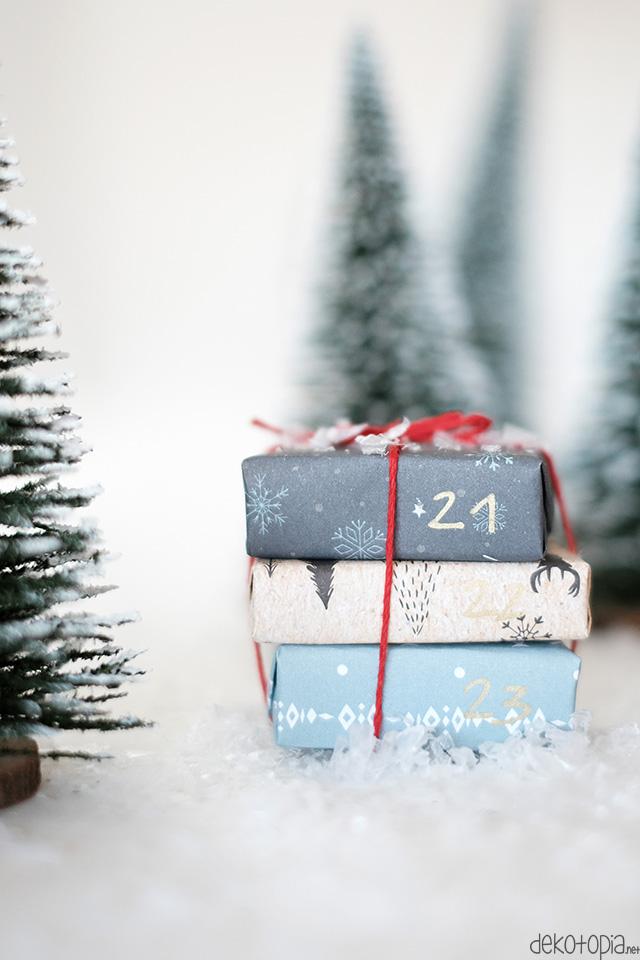 Mini Geschenke im Kunstschnee