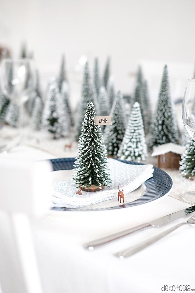 Winterwald Tischdeko: tolle Idee für Weihnachten