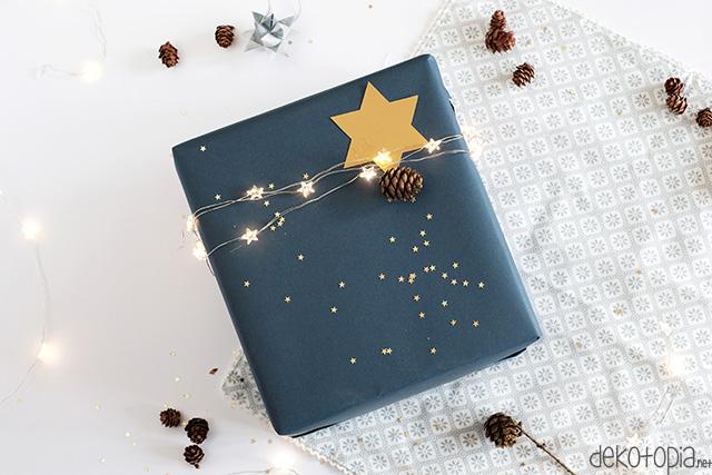DIY-Anleitung: Geschenk mit integrierter Lichterkette. So kann das Licht direkt am versteckten Schalter an-und aus geschaltet werden!