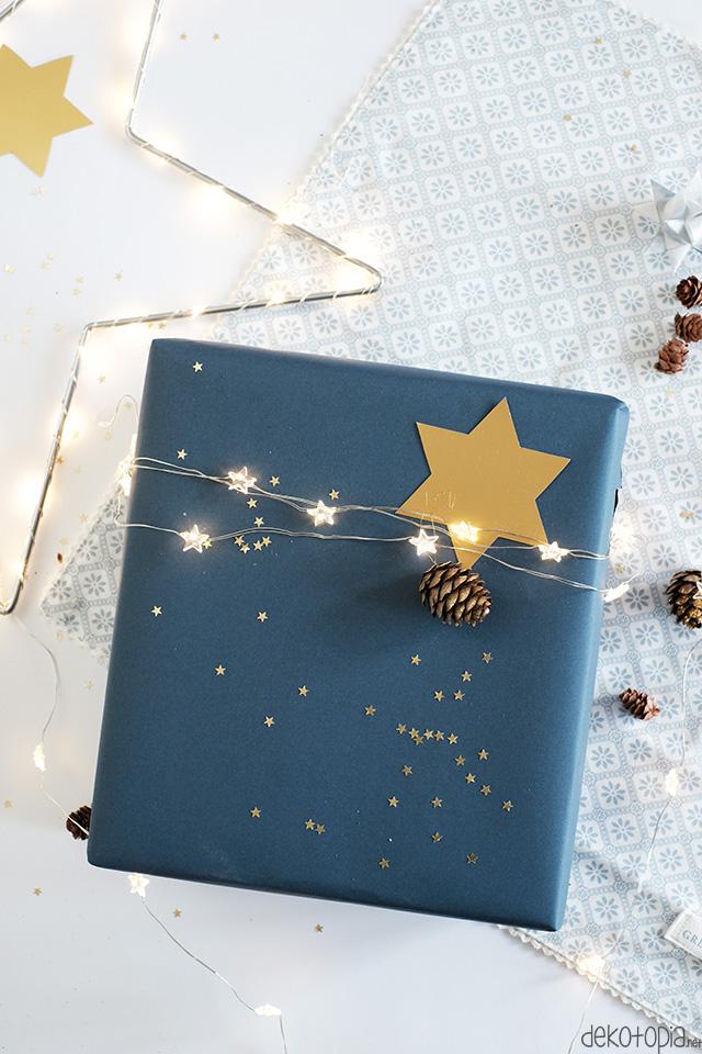 DIY-Anleitung: Geschenkverpackung mit integrierter Lichterkette. So kann das Licht direkt am versteckten Schalter an-und aus geschaltet werden!
