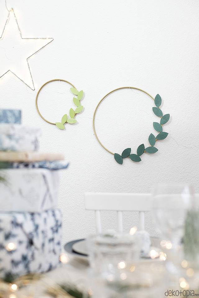 DIY Anleitung: festliche Kränze mit Blättern aus Balsaholz selber machen