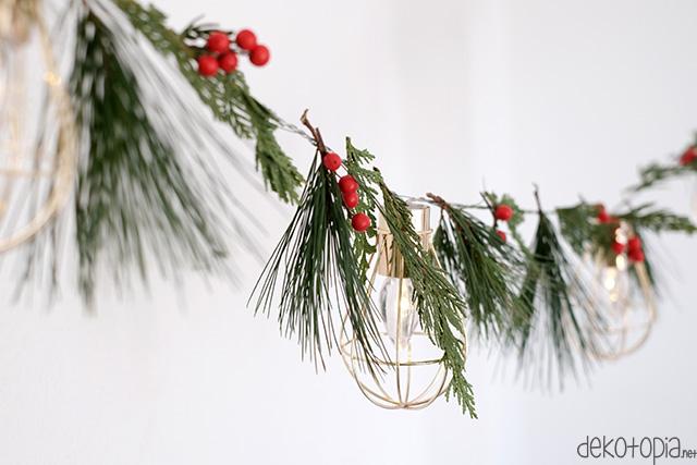 DIY: weihnachtliche Girlande aus Lichterkette und Naturmaterial