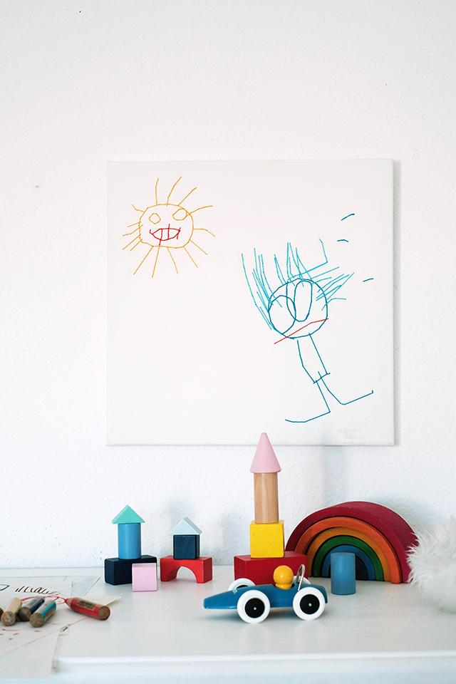 Leinwand Mit Kinderzeichnung Besticken Dekotopia Diy