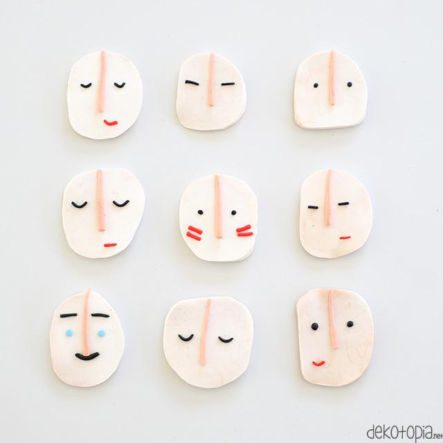 Brosche mit Gesicht selber machen